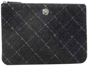 Chanel Tweed Quilted Pouch black Clutch