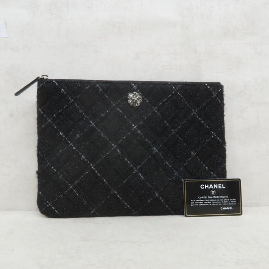 Chanel Tweed Quilted Pouch black Clutch Image 1