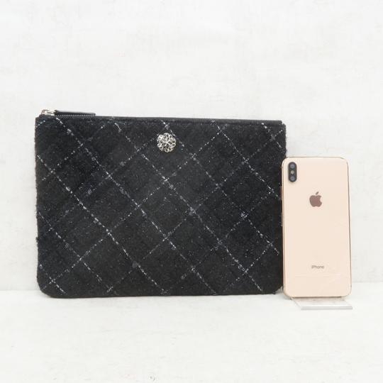 Chanel Tweed Quilted Pouch black Clutch Image 2
