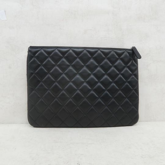 Chanel Tweed Quilted Pouch black Clutch Image 3