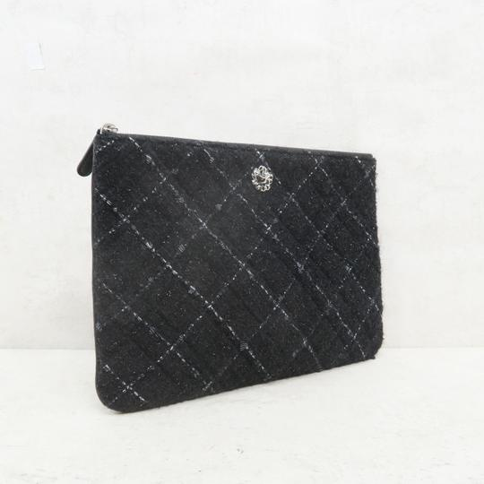 Chanel Tweed Quilted Pouch black Clutch Image 4