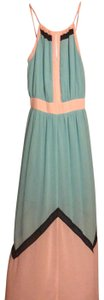 light aqua and light pink with black accents Maxi Dress by Lucy Paris