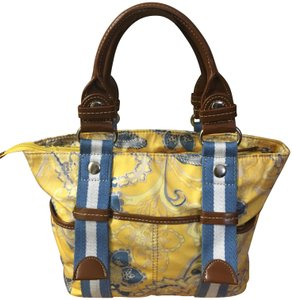 Tyler Rodan Outside Pockets Zipper Closure Keychain Leather Straps Satchel in Yellow and Powder Blue