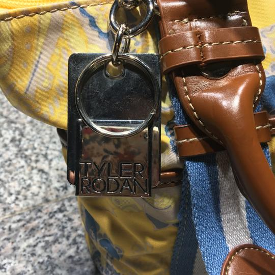 Tyler Rodan Outside Pockets Zipper Closure Keychain Leather Straps Satchel in Yellow and Powder Blue Image 1