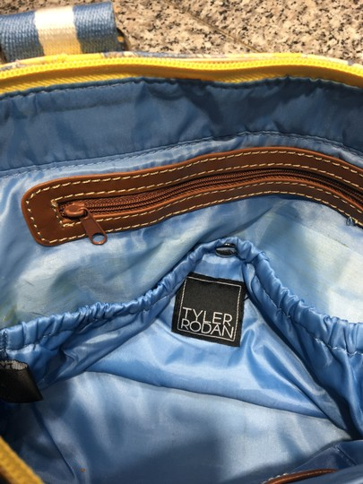 Tyler Rodan Outside Pockets Zipper Closure Keychain Leather Straps Satchel in Yellow and Powder Blue Image 10