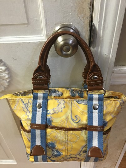 Tyler Rodan Outside Pockets Zipper Closure Keychain Leather Straps Satchel in Yellow and Powder Blue Image 2