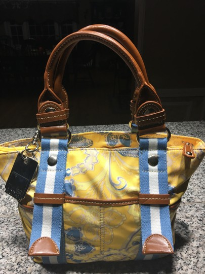 Tyler Rodan Outside Pockets Zipper Closure Keychain Leather Straps Satchel in Yellow and Powder Blue Image 3