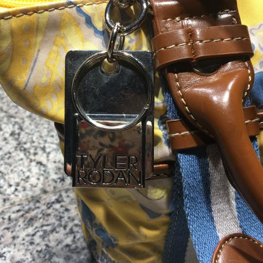 Tyler Rodan Outside Pockets Zipper Closure Keychain Leather Straps Satchel in Yellow and Powder Blue Image 4