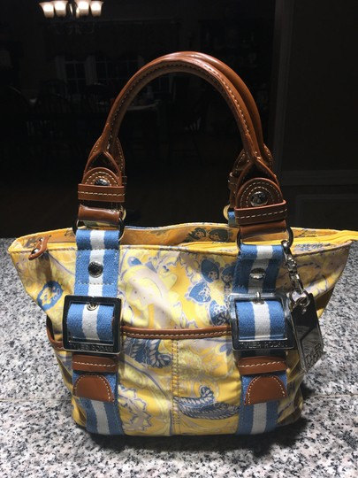 Tyler Rodan Outside Pockets Zipper Closure Keychain Leather Straps Satchel in Yellow and Powder Blue Image 5