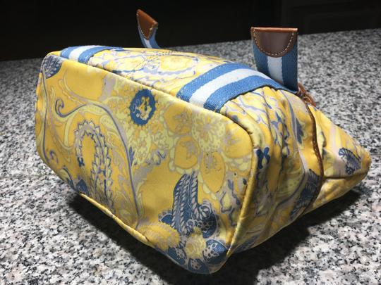 Tyler Rodan Outside Pockets Zipper Closure Keychain Leather Straps Satchel in Yellow and Powder Blue Image 7