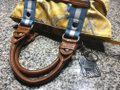 Tyler Rodan Outside Pockets Zipper Closure Keychain Leather Straps Satchel in Yellow and Powder Blue Image 8