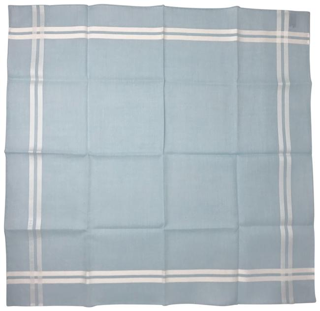 Item - Blue & White Cotton Jacquard Handkerchief Scarf/Wrap