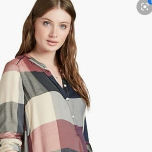 Lucky Brand Top Blue Red Cream