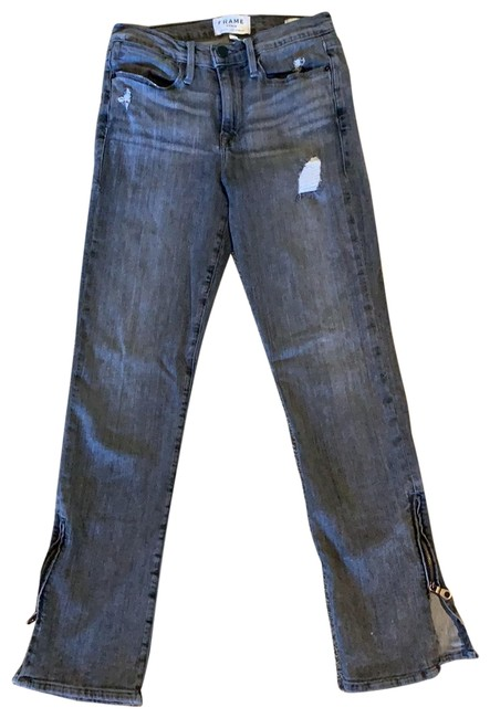 Item - Washed Out Black Distressed Straight Leg Jeans Size 2 (XS, 26)