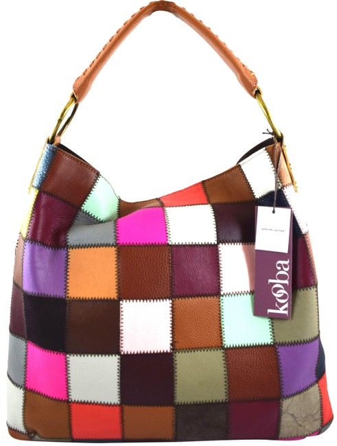 Item - Patchwork Multi Brown Purple Red Leather Hobo Bag