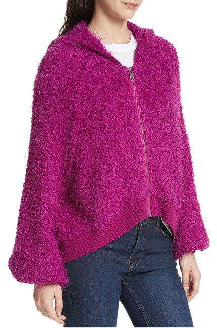 Item - Pink L Furry Time Boucle Hooded Zip Front Jacket Size 14 (L)