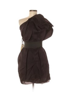 Lanvin Ruched Puff Ball One Shoulder Dress