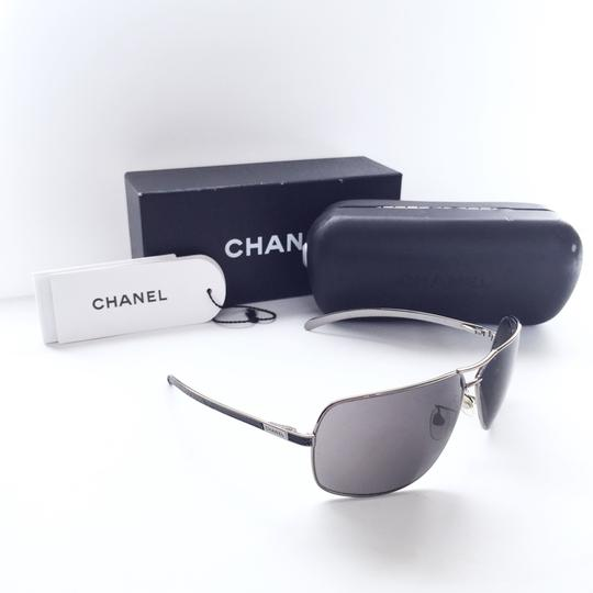 Chanel Chanel 4141-Q black leather silver aviator frames with case Image 1