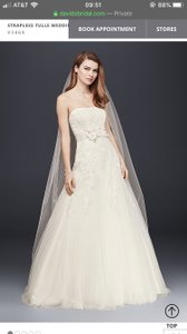 David's Bridal Ivory Tulle Embroidered Gown V3469 Casual Wedding Dress Size 4 (S)