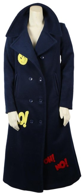 Unbranded Navy Blue Double Breasted Smiley Sticker Patch Long Coat Size 4 (S) Unbranded Navy Blue Double Breasted Smiley Sticker Patch Long Coat Size 4 (S) Image 1