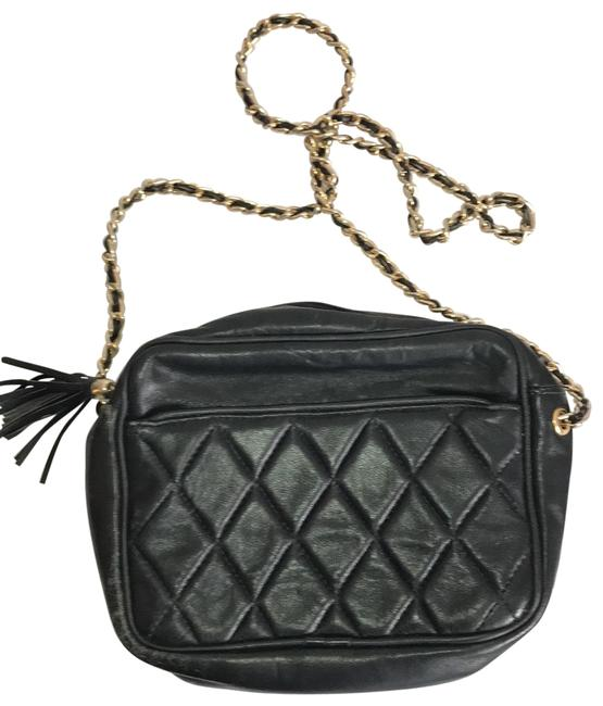 Item - Quilted Purse with Strap Black W/Gold Chain Nubuck Leather Cross Body Bag