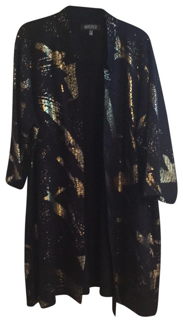 Item - Black with Gold Thigh Length 3/4 Sleeve Tunic Sweater/Duster Blazer Size 22 (Plus 2x)