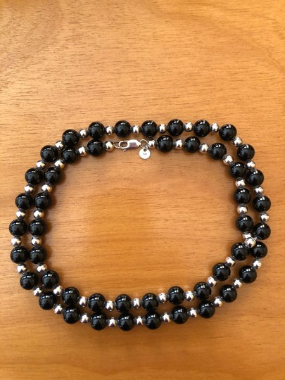 Tiffany & Co. 30' Tiffany Sterling Silver and Onyx single strand necklace Image 1