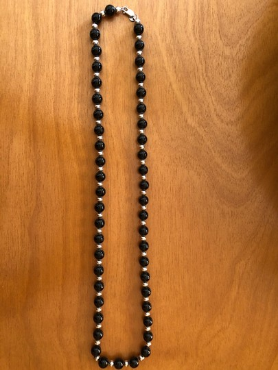 Tiffany & Co. 30' Tiffany Sterling Silver and Onyx single strand necklace Image 3