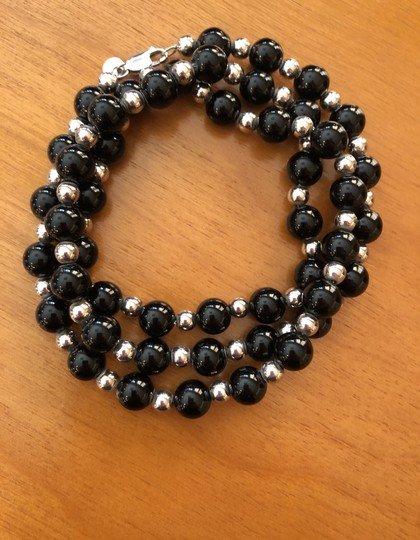 Tiffany & Co. 30' Tiffany Sterling Silver and Onyx single strand necklace Image 6