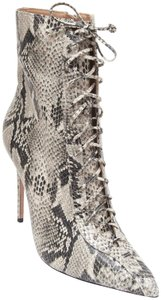 SCHUTZ Ankle Leopard Print Lace Up Pointed Toe Anaiya Black Boots