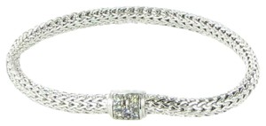 John Hardy Classic Chain 6mm Bracelet Grey Sapphire Clasp Sterling 925 Silver New