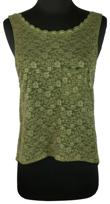 Item - Green XS Olive Army Lace Hi-lo Chest Pocket Tank Top/Cami Size 0 (XS)