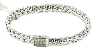 John Hardy Classic Chain 7.5mm Bracelet Champagne Diamond Clasp Sterling Silver
