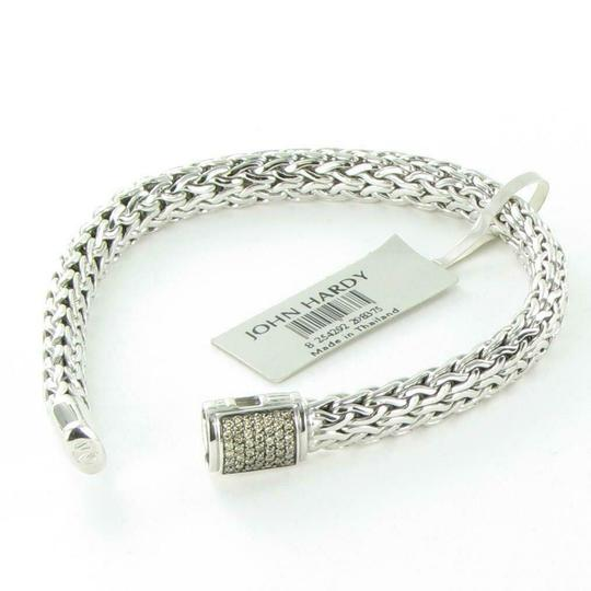 John Hardy Classic Chain 7.5mm Bracelet Champagne Diamond Clasp Sterling Silver Image 2