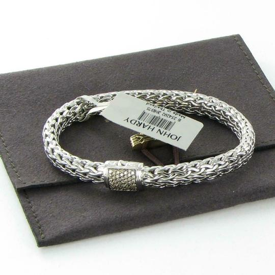 John Hardy Classic Chain 7.5mm Bracelet Champagne Diamond Clasp Sterling Silver Image 3