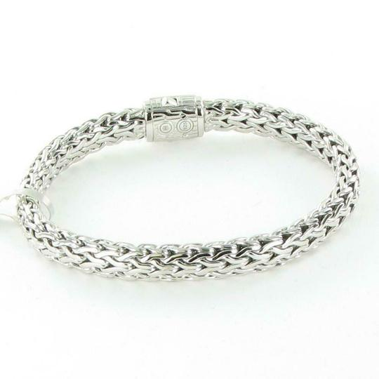 John Hardy Classic Chain 7.5mm Bracelet Champagne Diamond Clasp Sterling Silver Image 4