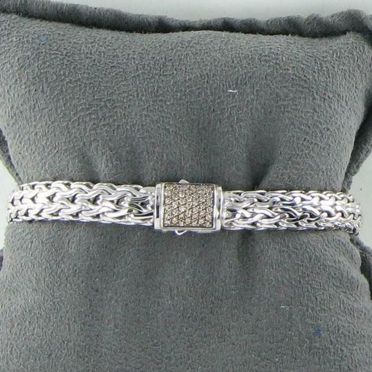 John Hardy Classic Chain 7.5mm Bracelet Champagne Diamond Clasp Sterling Silver Image 5
