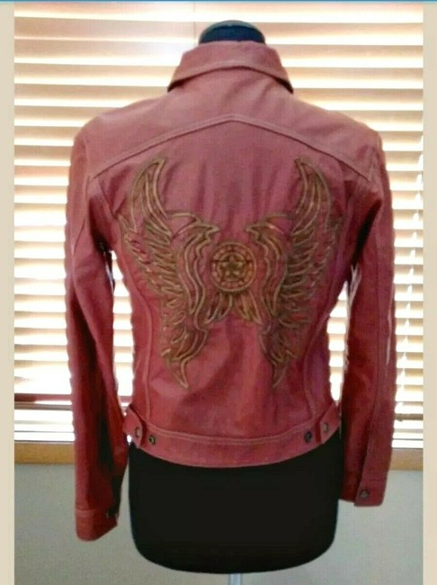 Harley Davidson Wings Studded Leather Embroidered Embellished Motorcycle Jacket Image 2