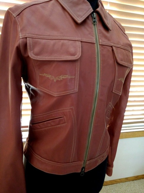Harley Davidson Wings Studded Leather Embroidered Embellished Motorcycle Jacket Image 4