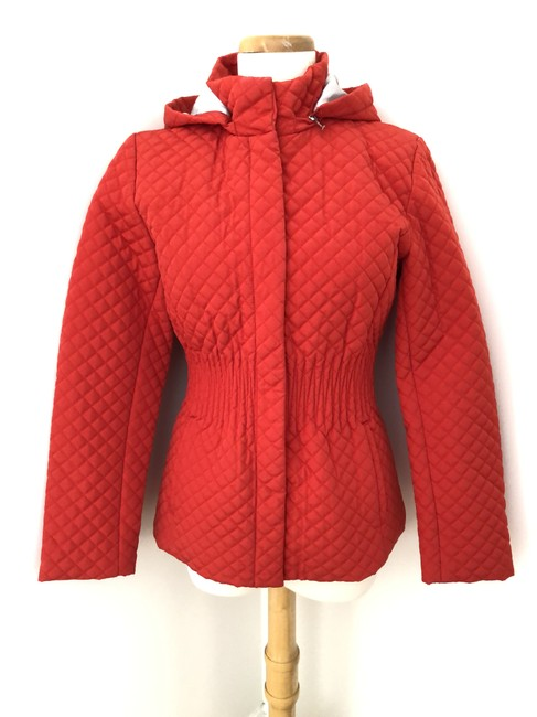 Item - Red Quilted Jacket Hood Jacket Coat Size 2 (XS)