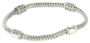 John Hardy Classic Chain Hammered 4 Station 5mm Bracelet Sterling Silver