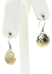 John Hardy Palu Round Silver Gold Disc Drop Earrings 18k Gold Sterling Silver