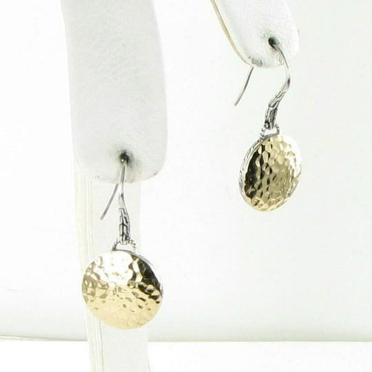 John Hardy Palu Round Silver Gold Disc Drop Earrings 18k Gold Sterling Silver Image 1
