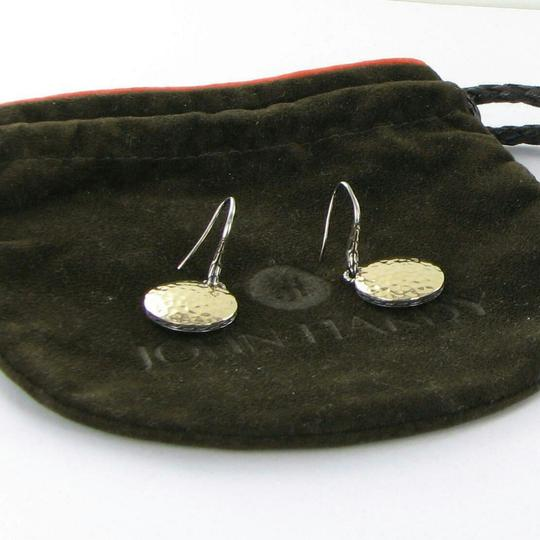 John Hardy Palu Round Silver Gold Disc Drop Earrings 18k Gold Sterling Silver Image 2
