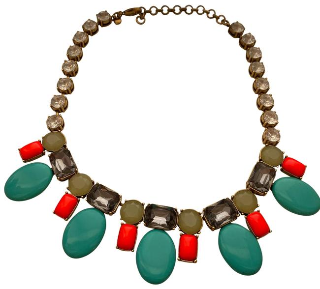 Item - Coral Teal Colorful and Statement Necklace