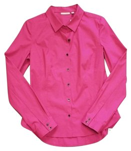Halogen Longsleeve Fitted Bright Collared Button Down Shirt Fuchsia