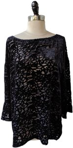 Eileen Fisher Floral Flowy Silk Velvet Embellished Top Blue