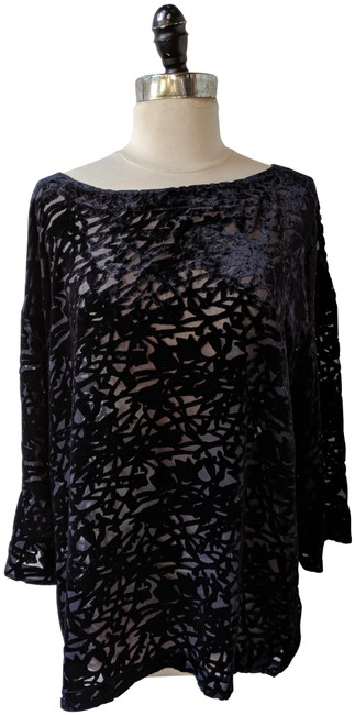 Eileen Fisher Floral Flowy Silk Velvet Embellished Top Blue Image 0