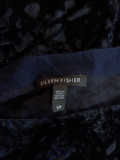 Eileen Fisher Floral Flowy Silk Velvet Embellished Top Blue Image 4