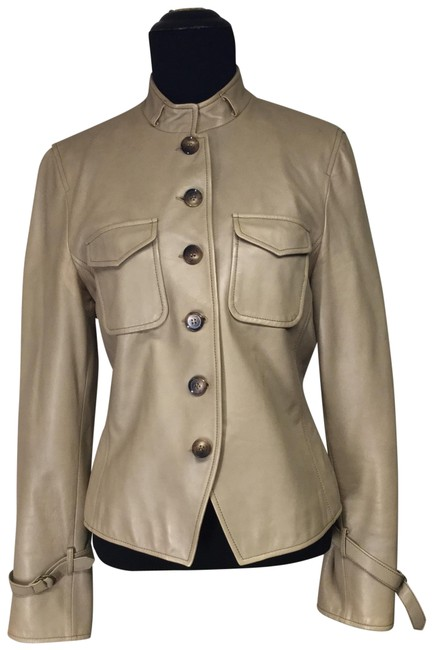 Item - Tan Military Styled Leather Jacket Size 6 (S)